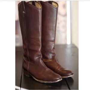 Frye dark brown Melissa Button-Pull Boots Size 11